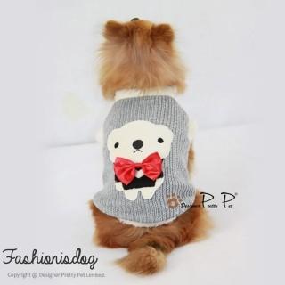 Pull Pretty Pet bow tie bear sweater gris