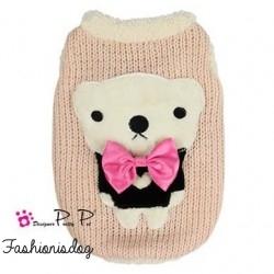 Pull Pretty Pet bow tie bear sweater rose