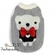 Pull Pretty Pet bow tie bear sweater gris