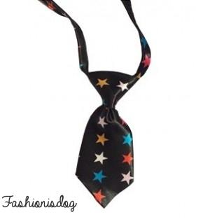 Cravate noire à étoiles multicolores
