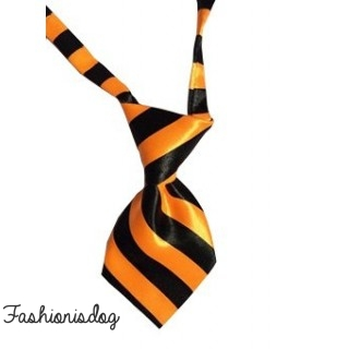 Cravate rayée orange et noire