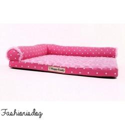 Sofa Sweet rose à pois blancs