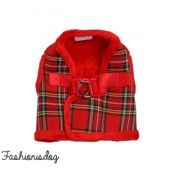 Harnais Urban Pup Luxury Fur tartan rouge