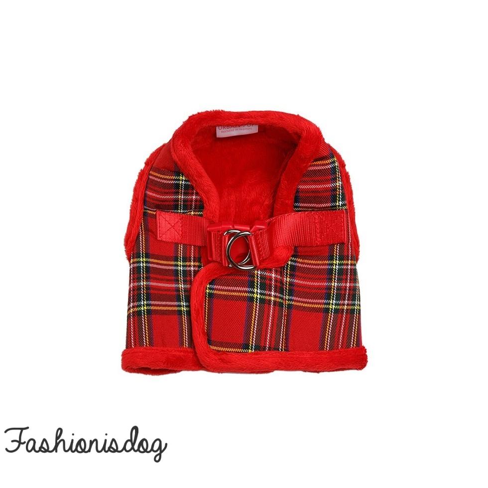 Harnais Urban Pup Luxury Fur tartan rouge