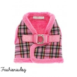 Harnais Urban Pup Luxury Fur tartan rose