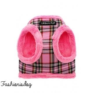 Harnais Urban Pup Luxury Fur tartan rose