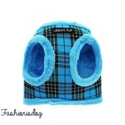 Harnais Urban Pup Luxury Fur tartan bleu
