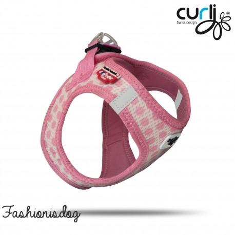 Ensemble Curli harnais Vest Air-Mesh + laisse Pink-Circles