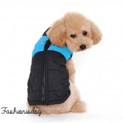 Manteau 2en1 bleu pour grands chiens